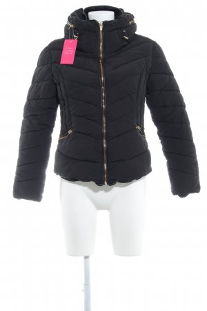 Zara Basic Quilted Jacket black-gold-colored quilting pattern casual look