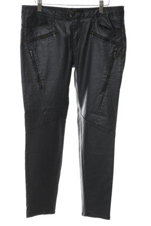 Zara Basic Stoffhose schwarz Glanz-Optik