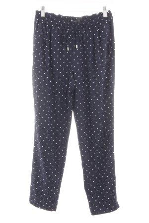 Zara Basic Stoffhose blau-weiß Punktemuster Casual-Look