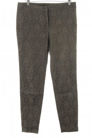 Zara Basic Stoffhose taupe-khaki abstraktes Muster Elegant