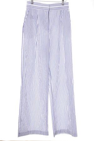 Zara Basic Stoffhose weiß-blau Streifenmuster Business-Look