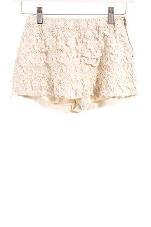 Zara Basic Stoffhose wollweiß-hellbeige Blumenmuster klassischer Stil