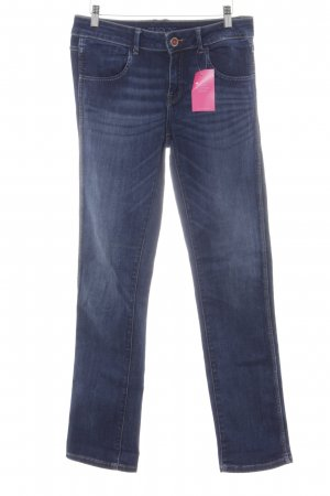 Zara Basic Straight-Leg Jeans dunkelblau Casual-Look