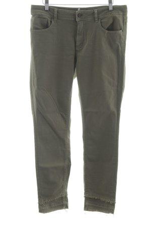 Zara Basic Straight-Leg Jeans olivgrün Boyfriend-Look