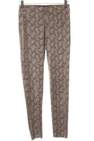 Zara Basic Stretch Trousers beige-black animal pattern animal print