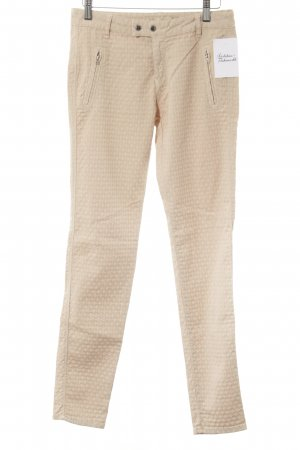 Zara Basic Stretchhose creme abstraktes Muster Casual-Look