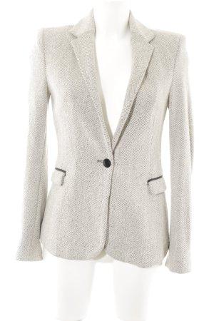 Zara Basic Gebreide blazer licht beige-grijs visgraatmotief klassieke stijl