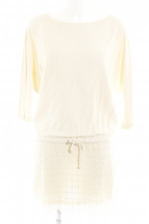 Zara Basic Strickkleid creme Lochstrickmuster Casual-Look