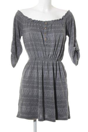 Zara Basic Strickkleid grau-schwarz abstraktes Muster Casual-Look