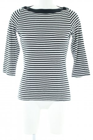 Zara Basic Jersey de punto negro blanco estampado a rayas look casual