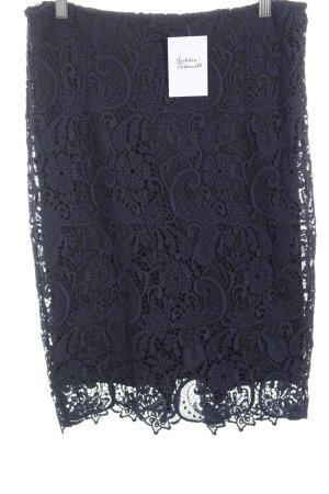 Zara Basic Gebreide rok donkerblauw-zwart bloemenprint casual uitstraling