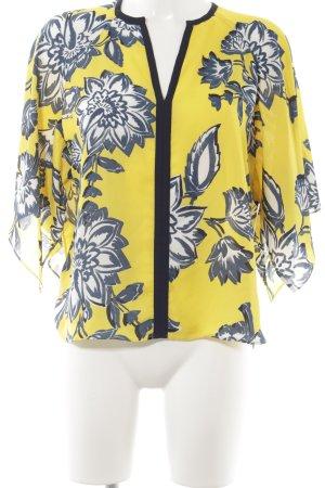 Zara Basic T-shirts en mailles tricotées jaune-bleu motif floral