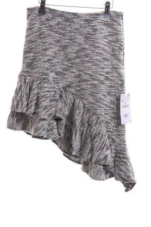 Zara Basic Stufenrock schwarz-wollweiß meliert Casual-Look