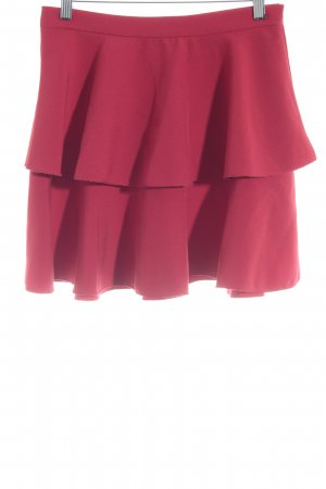 Zara Basic Broomstick Skirt red casual look