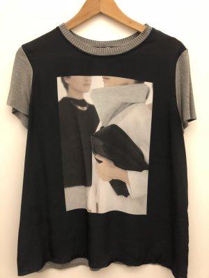 Zara T-shirt donkerblauw-grijs