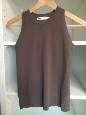 Zara Basic Top grey brown-light brown