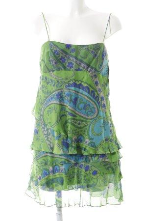 Zara Basic Trägerkleid blau-grün Mustermix Stofflagen-Detail