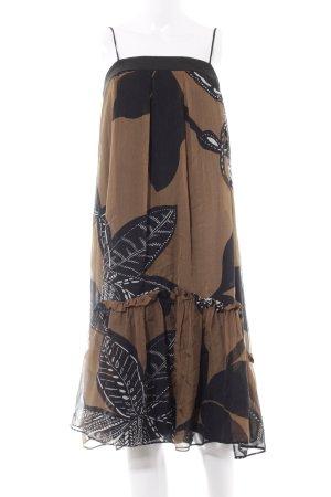 Zara Basic Trägerkleid schwarz-hellbraun florales Muster Elegant