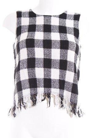 Zara Basic Trägertop schwarz-weiß Karomuster Romantik-Look