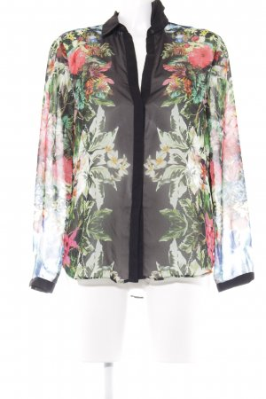 Zara Basic Transparenz-Bluse Blumenmuster Casual-Look