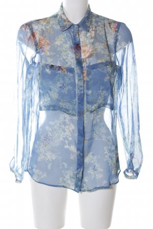 Zara Basic Transparent Blouse blue-nude flower pattern casual look