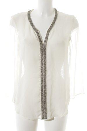 Zara Basic Transparenz-Bluse creme-silberfarben Perlenverzierung