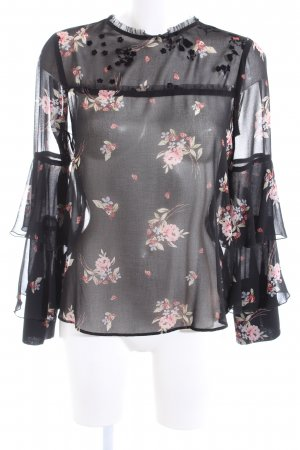 Zara Basic Transparent Blouse flower pattern casual look