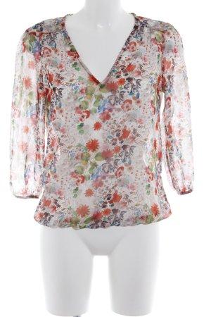 Zara Basic Transparenz-Bluse florales Muster Transparenz-Optik
