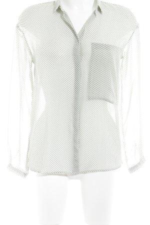 Zara Basic Transparenz-Bluse hellgrün-dunkelbraun grafisches Muster