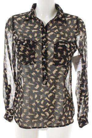 Zara Basic Transparenz-Bluse schwarz-creme Motivdruck klassischer Stil
