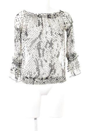 Zara Basic Transparenz-Bluse schwarz-weiß Punktemuster schlichter Stil