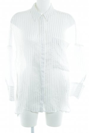 Zara Basic Transparenz-Bluse wollweiß-dunkelblau Streifenmuster Casual-Look