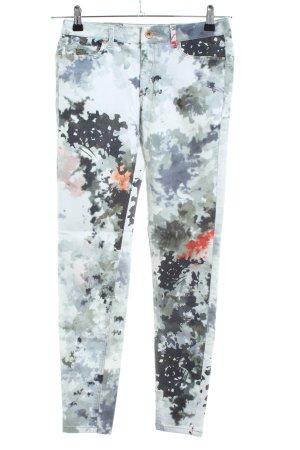 Zara Basic Treggings khaki-hellgrau abstraktes Muster Casual-Look