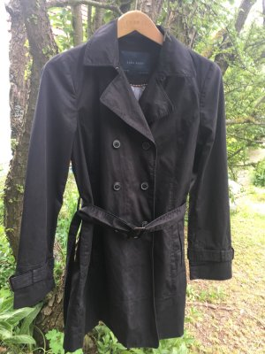 Zara Basic Trenchcoat zwart Katoen
