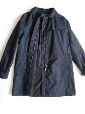 Zara Basic Trenchcoat/Wettermantel, nachtblau, Kapuze abnehmbar,  Gr. L DE 40