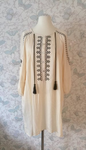 Zara Basic Tunika-Kleid Stickerei, creme, Gr. XL (Gr. 44) Neu