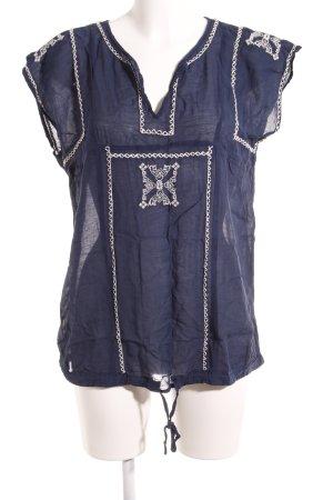 Zara Basic Tunikabluse weiß-dunkelblau Aztekenmuster Casual-Look