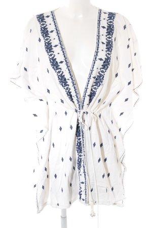 Zara Basic Tunikabluse weiß-dunkelblau Ornamentenmuster Casual-Look
