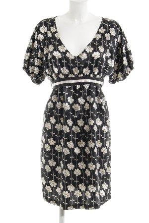 Zara Basic Tunikakleid schwarz-creme Blumenmuster Elegant