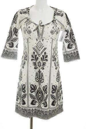 Zara Basic Tunikakleid weiß-schwarz florales Muster Casual-Look