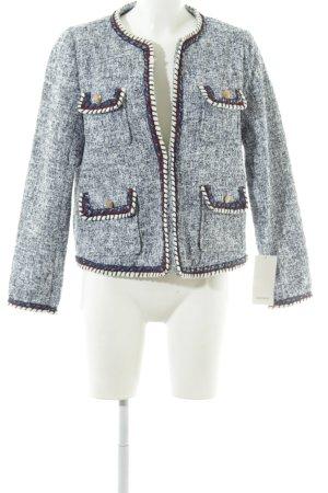 Zara Basic Tweedblazer blau-weiß meliert Casual-Look