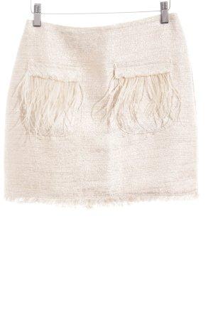 Zara Basic Falda Tweed color oro-crema moteado look casual