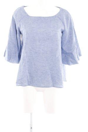 Zara Basic Boothalsshirt blauw gestippeld casual uitstraling