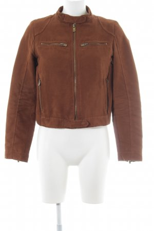 Zara Basic Overgangsjack bruin casual uitstraling