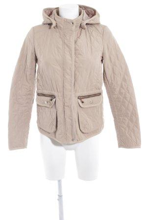 Zara Basic Übergangsjacke creme-dunkelbraun Steppmuster Street-Fashion-Look