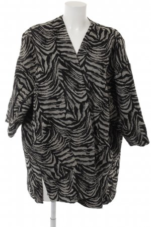 Zara Basic Übergangsjacke schwarz-wollweiß abstraktes Muster Casual-Look