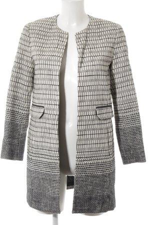 Zara Basic Übergangsjacke wollweiß-dunkelblau grafisches Muster Business-Look