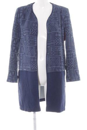 Zara Basic Übergangsmantel dunkelblau-graublau grafisches Muster Casual-Look