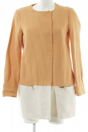 Zara Basic Übergangsmantel hellorange-wollweiß Colourblocking Casual-Look