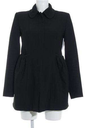 Zara Basic Übergangsmantel schwarz Romantik-Look
